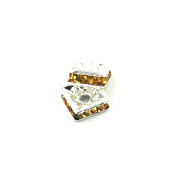 100pcs x 6mm Silver plated square rhinestone spacer bead with citrine colour stone - 8010004